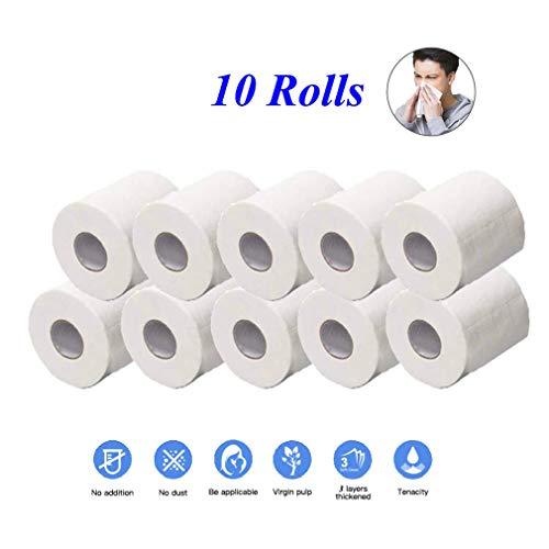 Punchline M Beauty 10 Rollen Toilettenpapier Bulk, seidig und glatt Soft Series Premium 3-lagiges Toilettenpapier, Toilettenpapier für die häusliche Küche, weich, stark und stark saugfähig