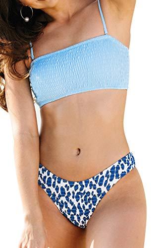 CUPSHE Women's High-Leg Bandeau Bikinis Set Smocked Design, S