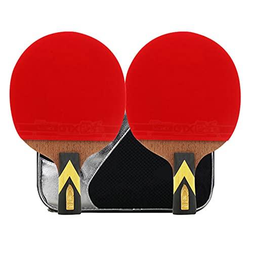 LINGOSHUN Raquetas de Tenis de Mesa Profesional,Juego Recreativo para 2 Jugadores,Paleta de Ping Pong Ofensiva para Niños y Adultos / 4 Stars/Short handle