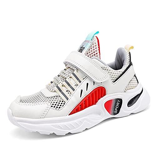 BLBK Zapatillas de deporte para niños, para correr, para niños, para el colegio, para interiores, para el verano, al aire libre, para niños., rojo, 37 EU