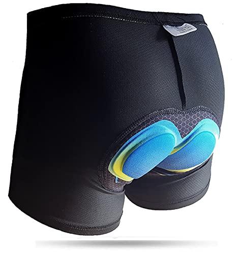 Pantaloncini Boxer Corti Imbottiti Da Ciclista con Fondello 5D per Bicicletta MTB Bici Moto Spinning Mutande con Imbottitura Antibatterica in Gel di Silicone Intimo Uomo da Ciclismo (46 S)