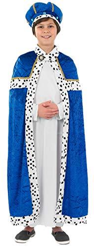 Jungen blau Weiser Mann Herren 3 Kings Weihnachten Krippe Verkleidung Kostüm Outfit 4-12 Jahre - Blau, Blau, 8-10 Years