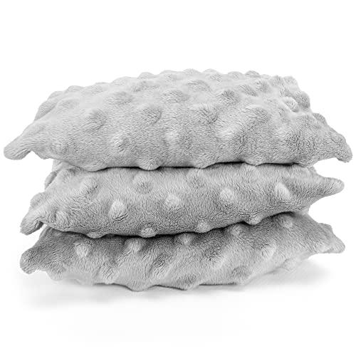 Totsy Baby, cuscino termico con imbottitura con noccioli di ciliegia, per bambini e adulti, piccoli, caldo e freddo (Minky Grigio, SET di 3 17X11 cm)