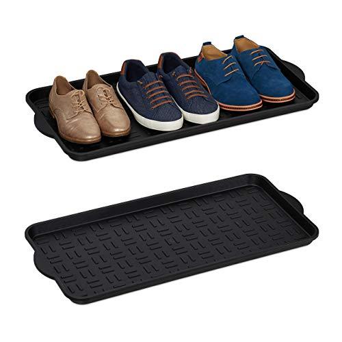 Relaxdays Set de 2 Bandejas Zapatos, Booy Tray Anti Goteo, Zapatero Recibidor, 6-8 Pares XL, Plástico, 75 x 36,5 cm, Negro