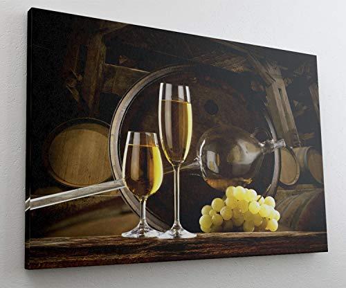 Weintrauben Wein Fass Weinglas Leinwand Bild Wandbild Kunstdruck L0481 Größe 70 cm x 50 cm