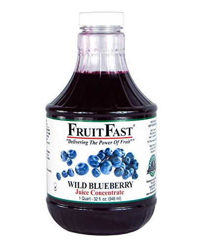 100% Pure Wild Blueberry Juice Concentrate by FruitFast - Unsweetened, Non-GMO, Gluten and BPA Free, Kosher Certified Fruit Juice Concentrate - Promotes Healthy Brain Function (32 Ounce)