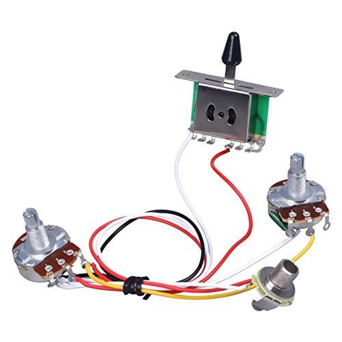Kit de cableado de guitarra, cable de cableado de guitarra eléctrica Kit de 3 vías interruptor de palanca piezas de repuesto - Plata