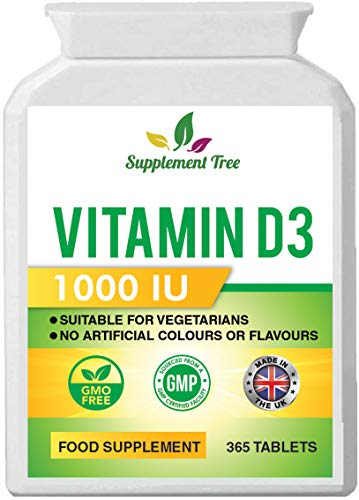 Vitamin D 1000IU 365 Vegetarian Tablets | Optimum Strength Cholecalciferol Vitamin D3 Supplement | UK Manufactured