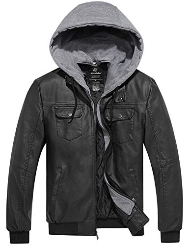 Wantdo Men's Faux Leather Jacket PU Leather Jacket with Removable Hood Black M