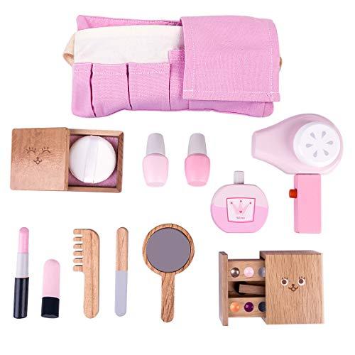 LoKauf 12St. Holz Kosmetik Spielzeug Make Up Set Rollenspiel Friseur mit Haartrockner Spielzeug Set Friseurkoffer für Mädchen Kinder Prinzessin