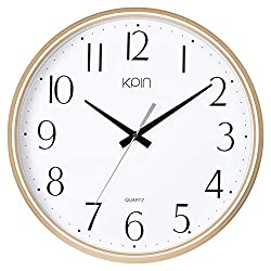 Kpin 13 Inch Large Non Ticking Silent Wall Clock Decorative, Battery Operated Quartz Analog Quiet Wall Clock, for Office Wall,Living Room, Kitchen, Bedroom (Light Gold, 13)