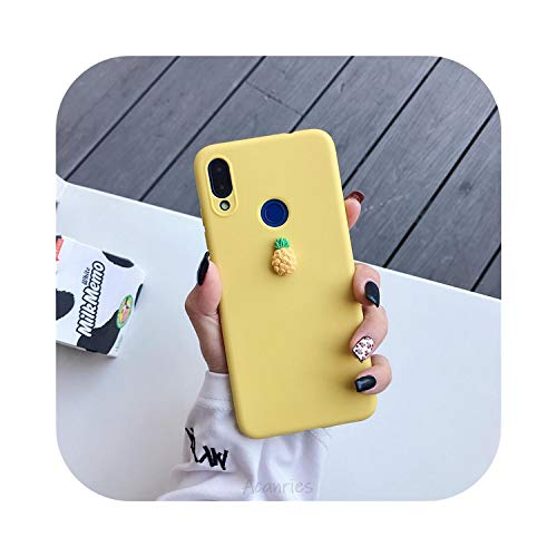 3D Cute Fruit Silicone case on for Huawei p40 p30 p20 p10 p9 p8 pro lite Plus Candy Color Soft Back Cover funda Coque-Yellow pine-p40 pro