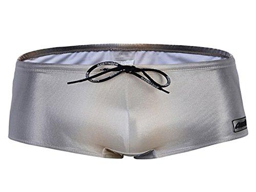 Panegy Herren Badehose Badeshorts Schwimmhose Sexy glänzend Wetlook Boxershorts Unterwäsche Kurz Hose mit Kordelzug - Silber