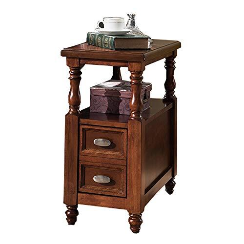 Axdwfd bijzettafel nachtkastje met lades en planken, kleine moderne bank bijzettafel, houten kluisjes, duurzaam bruin