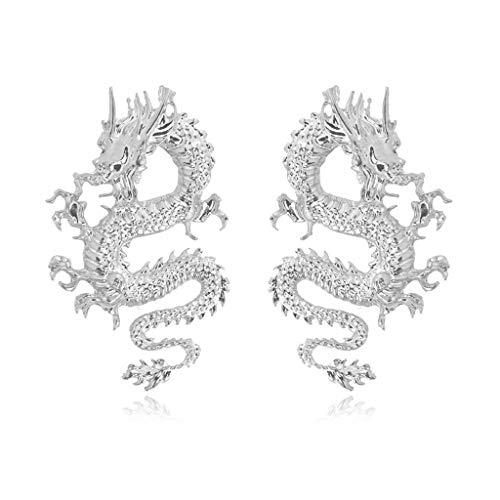 SweetWU Punk Rock Firery Dragon Stud Pendientes Tronos Juego de Disfraces Joyería - Plata