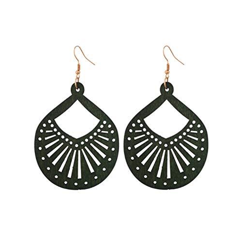 3 pairs Cutout Geometric Wood Earrings for Women 2021 New Fan Radial Round Earrings Jewelry Wholeasle