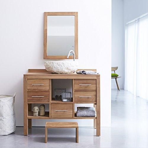 aus massivem Teakholz Holz Unterschrank Waschtisch modernes natürliches Design Badezimmer