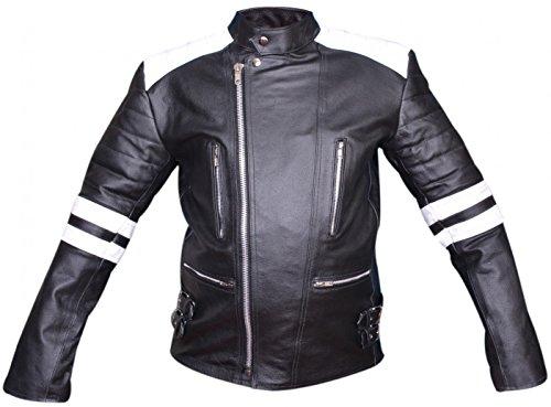 German Wear Leder Motorradjacke Oldschool Retro, Schwarz/Weiss, 60 - 3
