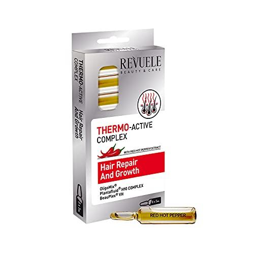 Revuele Ampollas termoactivas para reparación y crecimiento del cabello, 5 ml, 100% puro cuidado natural y orgánico, fortalece el cabello más saludable y bonito.