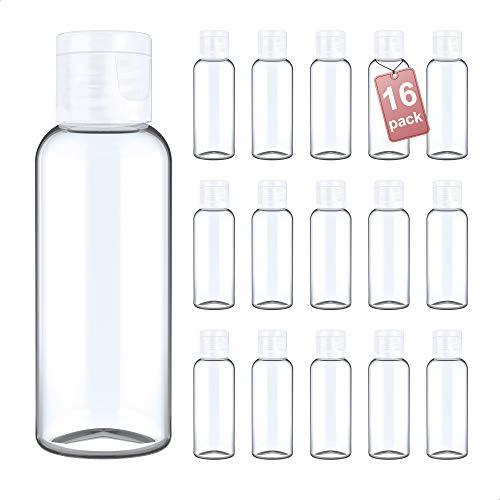LG Luxury & Grace Pack 16 Botellas Flip-Top, 60 ml. Botes de Polietileno Transparente con Tapa de Cierre. Botellas Rellenables para Viajes, Higiene Personal y Aceites Esenciales.