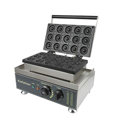 Donut Maker Machine Upgrade-Commercial&Household Electric Doughnut Machine With 15 Holes Pan,Small/Mini Non-stick Donut Backer Machine For Home Kitchen,Bakery,Snack Bar-Stainless Steel Body,1650W 110V.