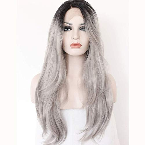 Ombre Black Roots to Grey Natural Straight Soft Hair Synthetic Lace Front Wig for Women Natural Looking Full Wig Half Hand Tied Heat Safe 22 inch
