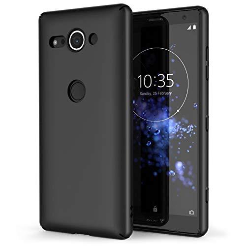 COPHONE® Coque Compatible avec Noir Sony Xperia XZ2 Compact, Housse Etui Noir en Gel TPU Silicone Souple Ultra Mince avec Anti Choc pour Sony Xperia XZ2 Compact
