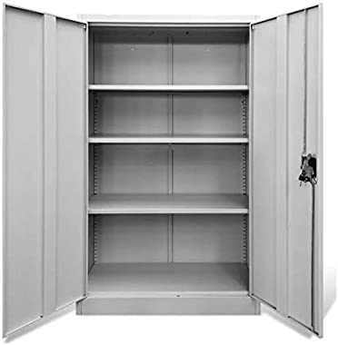 "Metal Storage Cabinet with Locking Doors, Gray Steel Utility Storage Cabinet 55.1"" Tall Lockable Doors and Adjustable Shelves"