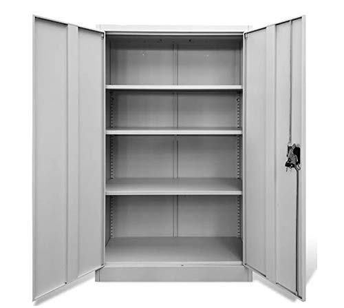 Metal Storage Cabinet with Locking Doors, Gray Steel Utility Storage Cabinet 55.1' Tall Lockable Doors and Adjustable Shelves for Garage Kitchen Pantry Office and Laundry Room, 35.4' x 15.7' x 55.1'