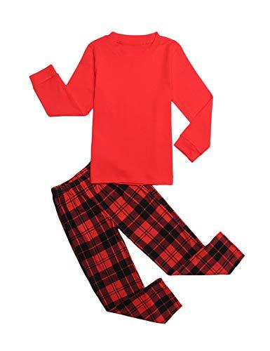 trudge Schlafanzug Jungen Mädchen Unisex Pyjama Set Kinder Langarm Einfarbig Baumwolle Top + Kariert Hose, Rot, 130/6-7 Jahre