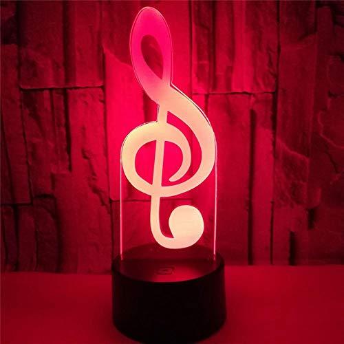 Luz nocturna 3D lámpara 3D nota musical luz visual LED 3D luz nocturna cambio lámpara de noche lámpara para dormitorio de niños decoración del hogar regalo de Navidad ZGLQ