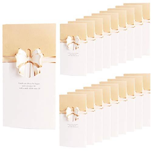 HWT リボン 付 メッセージカード 20枚 セット クリーム ウェディング 席札 披露宴 結婚式 用 グリーティングカード ウェルカム カード 立体 (クリーム)