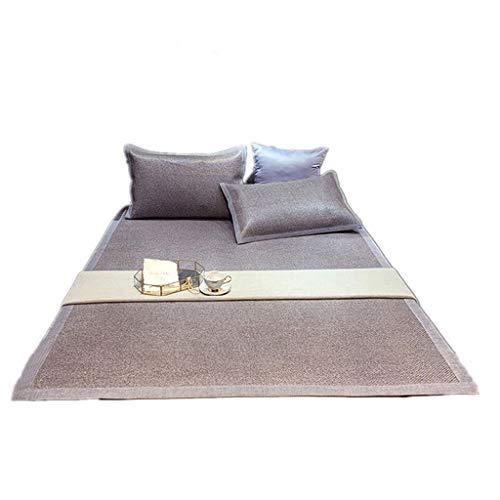 Faltbare Sommermatte Verdickung Rattan dreiteilige Einzelbett Doppelbett Hause Matte (Color : Light Yellow, Size : 150 * 200cm)
