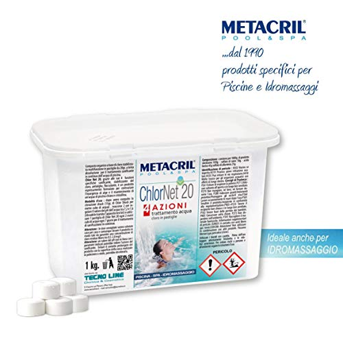 Metacril CHLOR Net 20 4 Azioni 1 kg - Cloro Piscina MULTIAZIONE in pastiglie da 20gr- Sanificante, Antialga, Flocculante a Azione Lenta per Piscina e idromassaggio. Spedizione IMMEDIATA