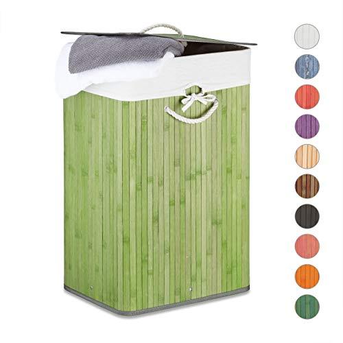 Relaxdays Cesto Ropa Sucia Plegable, Cubo Colada Rectangular con Tapa, Bambú, 83 L, 65,5 x 43,5 x 33,5 cm, Verde