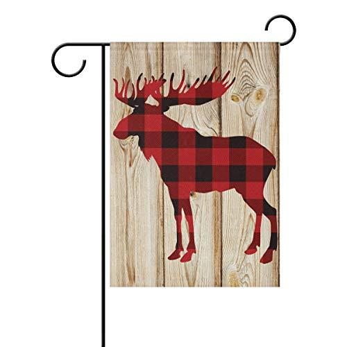 REFFW Home Doppelseitig für Outdoor Lawn Decor Gartenflagge Schwarz Rot Plaid Hirsch Holz Board Christmas Shepherd Banner Gardening