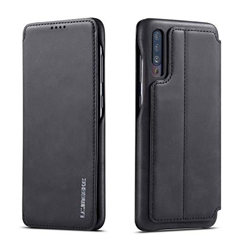 QLTYPRI Étui à Rabat en Cuir Fin Vintage avec Fermeture magnétique dissimulée pour Samsung A Series Samsung Galaxy A70 Noir