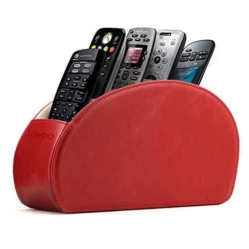 Londo Fernbedienungshalter mit 5 Taschen - Platz für DVD, Blu-Ray, TV, Roku oder Apple TV Fernbedienungen - Leder mit Wildleder Futter