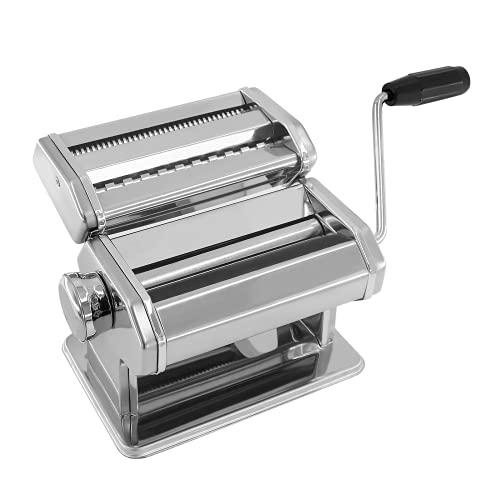 パスタマシン 製麺機 手動式 ヌードルメーカー 手回し式 6つの異なるギア ステンレス鋼 防錆性 お手入れ簡単 麺の太さ2/4mm 粗/細麺カッター 麺/ワンタンの皮/餃子の皮/手打ちそば 家庭/業務用