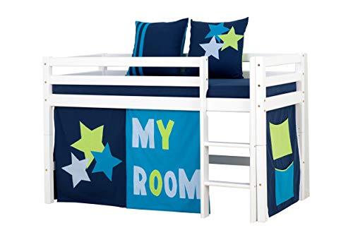 Hoppekids My Room Halbhohes Bett, Kiefer massiv, Blau, 70 x 160 cm