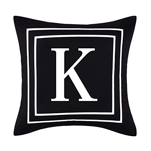 Yastouay Pillow Covers English Alphabet K Throw Pillow Cover Black Throw Pillow Case Modern Cushion Cover for Sofa Bedroom Chair Couch Car (Black, 18 x 18 Inch)