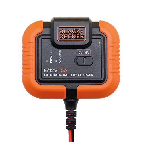 Black and Decker BXAE00021 Cargador y Mantenedor de Batería Moto Coche 6-12V 70Ah hasta 1.4 Amp