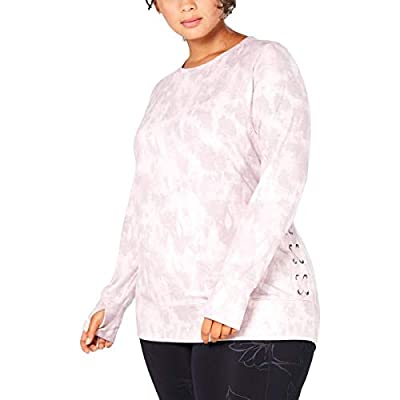 Ideology Womens Plus Crewneck Lace-Up Sweatshirt Pink 2X