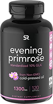 Evening Primrose Oil 1300mg 120 Liquid Softgels ~ Cold-Pressed with No fillers or Artificial Ingredients ~ Non-GMO & Gluten Free