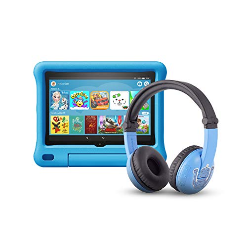 All-new Fire HD 8 Kids Edition tablet | 8' HD display, 32 GB, Blue Kid-Proof Case + Made for Amazon Bluetooth BuddyPhones, PlayTime in Blue – Ages (3-7)