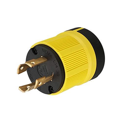 Miady NEMA L14-30P Generator Plug, 30 Amp 4-Prong Industrial Grade Locking Male Plug Up to 7,500W, Grounding Type, UL Listed