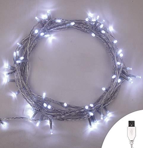 Luces de hadas USB 100 LED Blanco brillante Luces de la cadena de Navidad para interiores Estable Encendido/apagado...