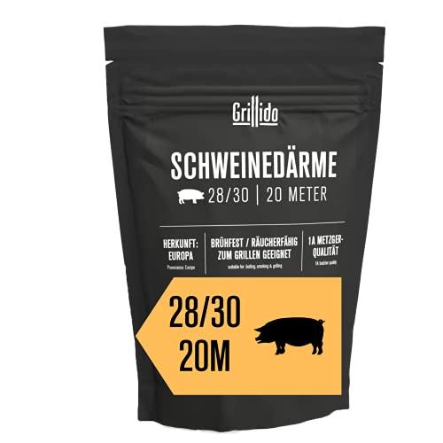 Boyaux de porc Grillido I calibre 28/30 I 20 mètres I EN PROVENANCE DE METZGER MANUFAKTUR EN ALLEMAGNE I grade 1A I anti-brûlure & fumable