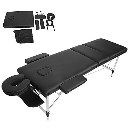 N / B Mesa de Masaje Cama de Masaje portátil, 3 Plegables 84 Pulgadas Marco de Aluminio Ligero Todo en uno Tabla de Tratamiento con Cuna Ajustable, Almohada