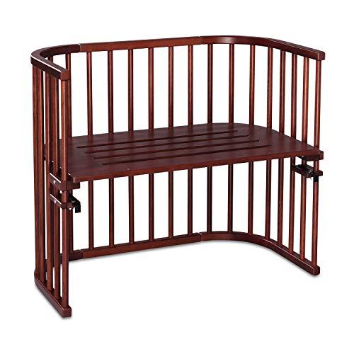 babybay Maxi extra großes Beistellbett aus massivem Buchenholz I Kinderbett Höhe stufenlos verstellbar & umweltfreundlich I mitwachsendes Babybett, dunkelbraun lackiert